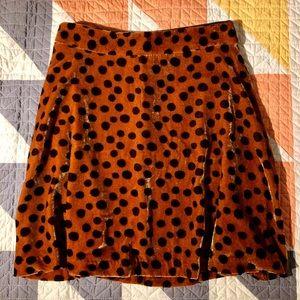 Madewell Velvet Leopard Dot Skirt NWT